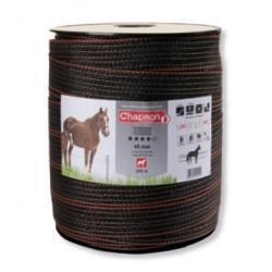 """Ruban pour clôture électrique 12mm -4 inox-200m """"PRESTIGE"""" Marron Chapron"""