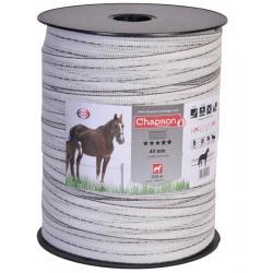 """Ruban pour clôture électrique 40mm -10 HPC-200m """"HPC"""" Blanc Chapron"""