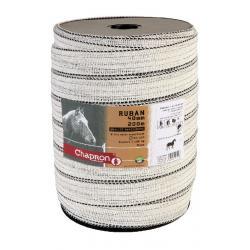 Ruban pour clôture électrique 40mm -8 inox-200m Blanc Chapron