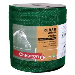 Ruban pour clôture électrique 20mm -5 inox-200m Vert Chapron