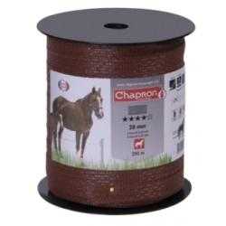 Ruban pour clôture électrique 20mm -5 inox-200m Marron Chapron