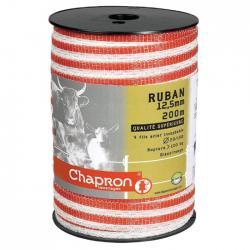 Ruban pour clôture électrique 12.5mm -4 inox-200m Blanc/Rouge Chapron