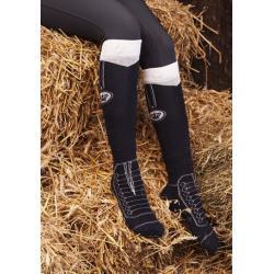 """Chaussettes d'équitation HKM """"Majestic"""" - Couronne et lacets"""