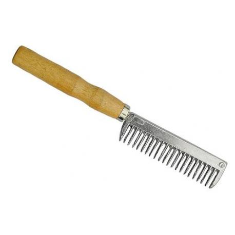 Peigne à crins avec manche en bois