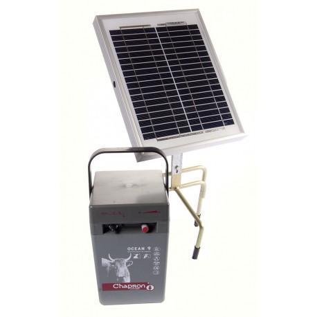 Électrificateur de clôture Chapron OCEAN 9 -Accu/Pile- 10 000V/0,7J + Solaire 10W -Sans accu