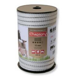 """Ruban pour clôture électrique 12mm -3 inox 3 cuivre -200m """"MIXTE"""" Chapron"""