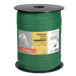 Ruban pour clôture électrique 40mm -8 inox-200m Vert Chapron
