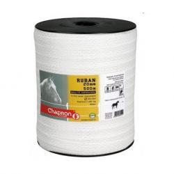 Ruban pour clôture électrique 20mm -5 inox-500m Blanc Chapron
