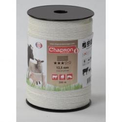 Ruban pour clôture électrique 12.5mm -4 inox-200m Blanc Chapron
