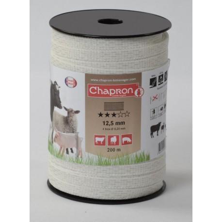 Ruban pour clôture électrique 12,5mm -4 inox-200m Chapron