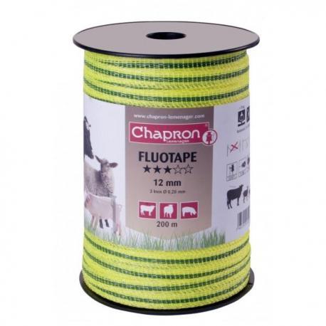 """Ruban pour clôture électrique 12mm -3 inox-200m """"FLUO"""" Chapron"""