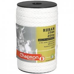 Ruban pour clôture électrique 10mm -3 inox-200m Blanc Chapron