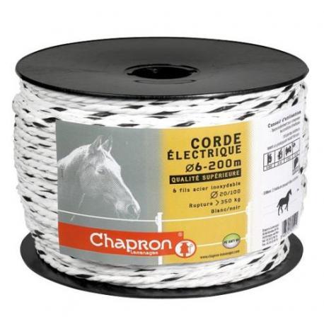"""Cordon pour clôture 6 inox """"BLANC/NOIR"""" -200m- Chapron"""